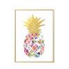 tableau sur toile motif ananas avec fruit multicolore et feuilles dorées