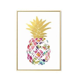 Tableau Ananas Feuilles Dorées