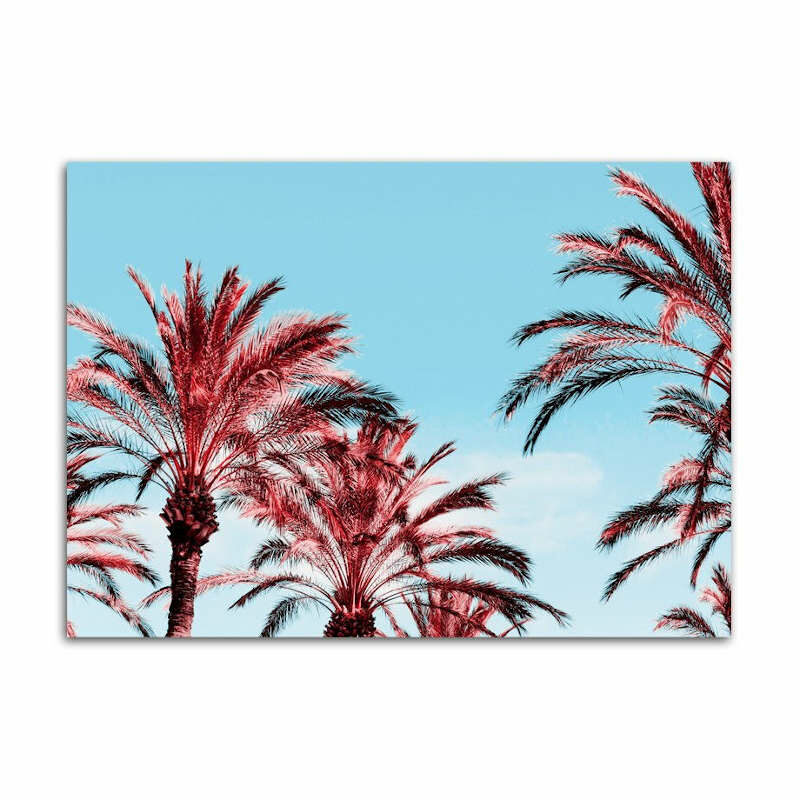 tableau ananas plage rouge palmiers