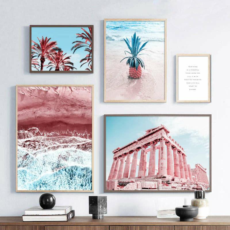 tableau ananas plage rouge en plusieurs parties composition 2