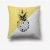 taie d'oreiller ananas bicolore jaune et blanc imprimée d'un ananas noir