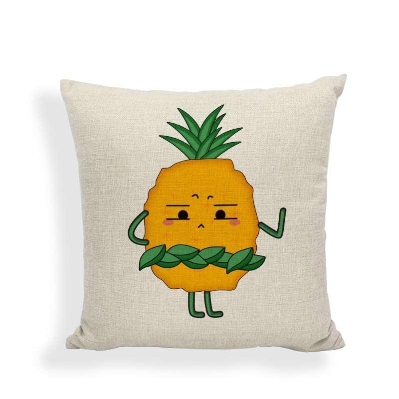 taie d'oreiller motif ananas avec couronne de feuilles