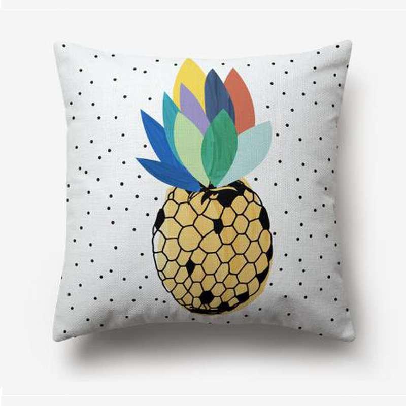 taie d'oreiller blanche imprimée d'un motif d'ananas en nid d'abeille avec une couronne de feuille multicolore