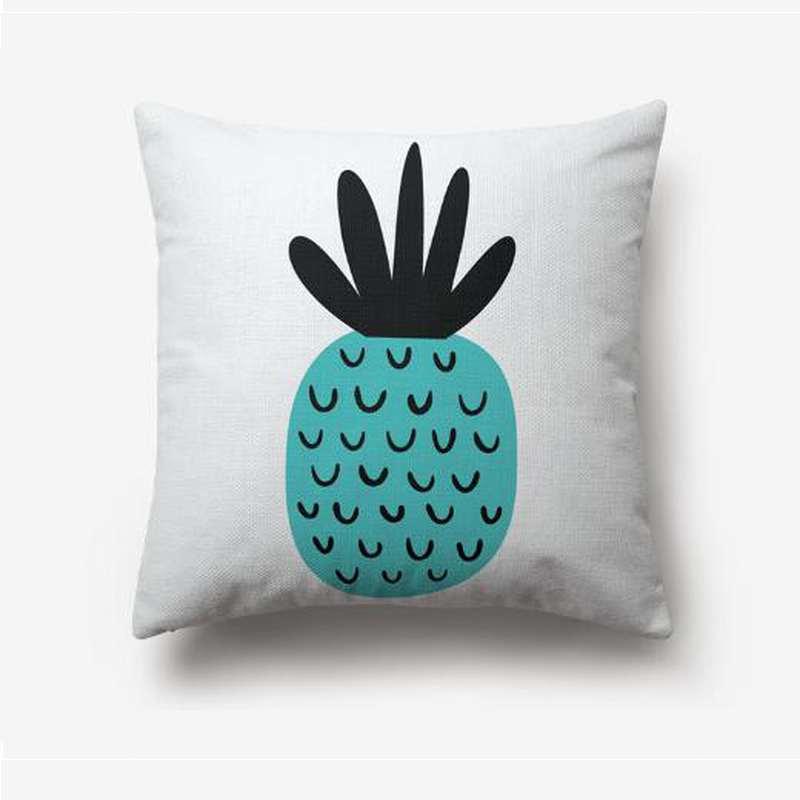 taie d'oreiller imprimée d'un ananas turquoise et noir