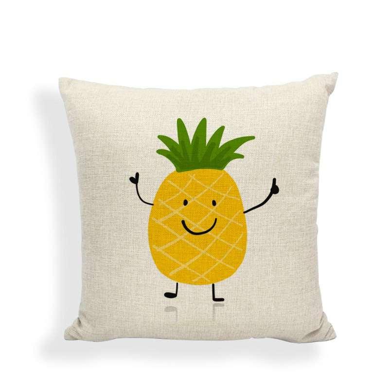 taie d'oreiller motif ananas heureux en train de sourire