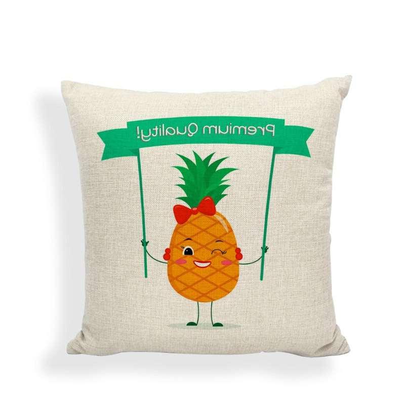 taie d'oreiller motif ananas avec banderole premium quality