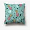 taie d'oreiller ananas bleu clair imprimée d'ananas rose et jaune et de flêches blanches