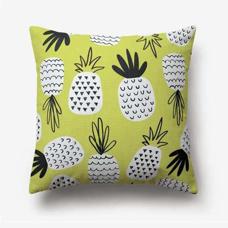 taie d'oreiller ananas verte imprimé de motif de fruit noir et blanc