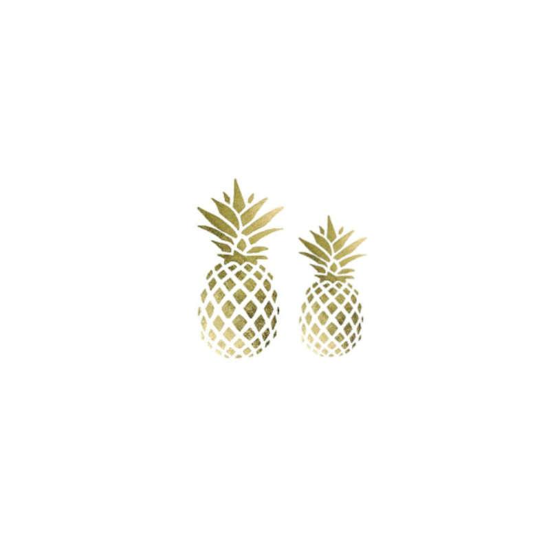 tatouage ananas temporaire représentant deux ananas, un grand et un petit de couleur or