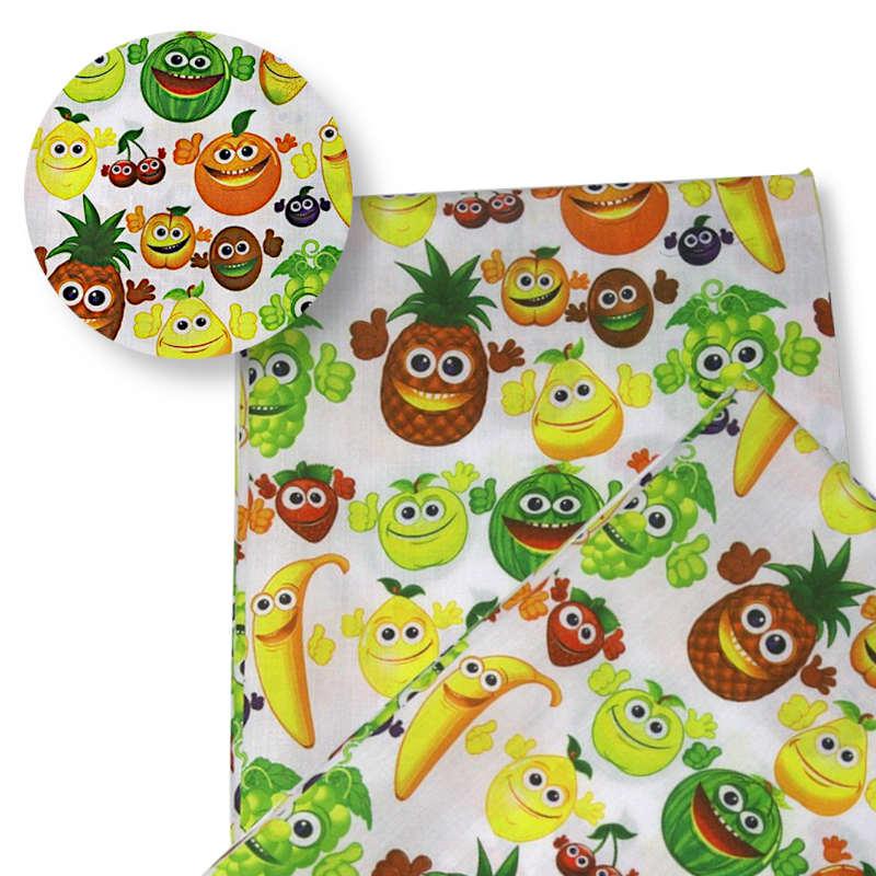 tissu motifs ananas pastèque, pomme, poire, ,citron, raisin, fraise