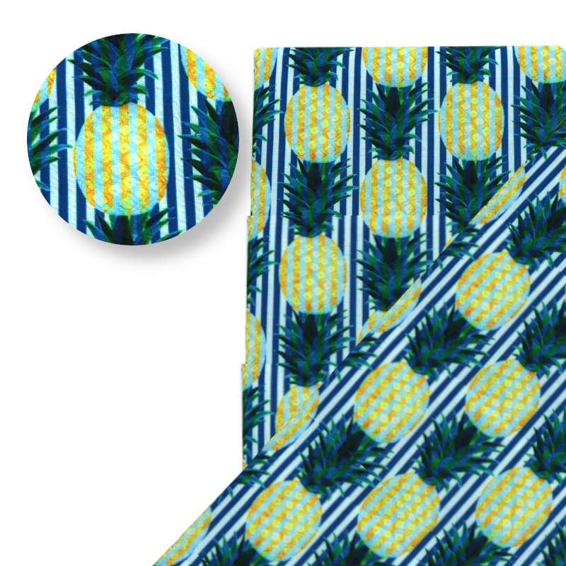 tissu motif ananas avec rayures bleues