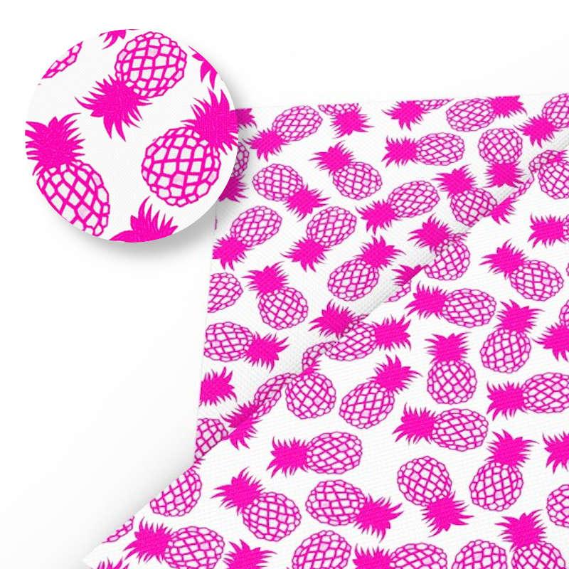 tissu ananas blanc avec motifs de fruits rose