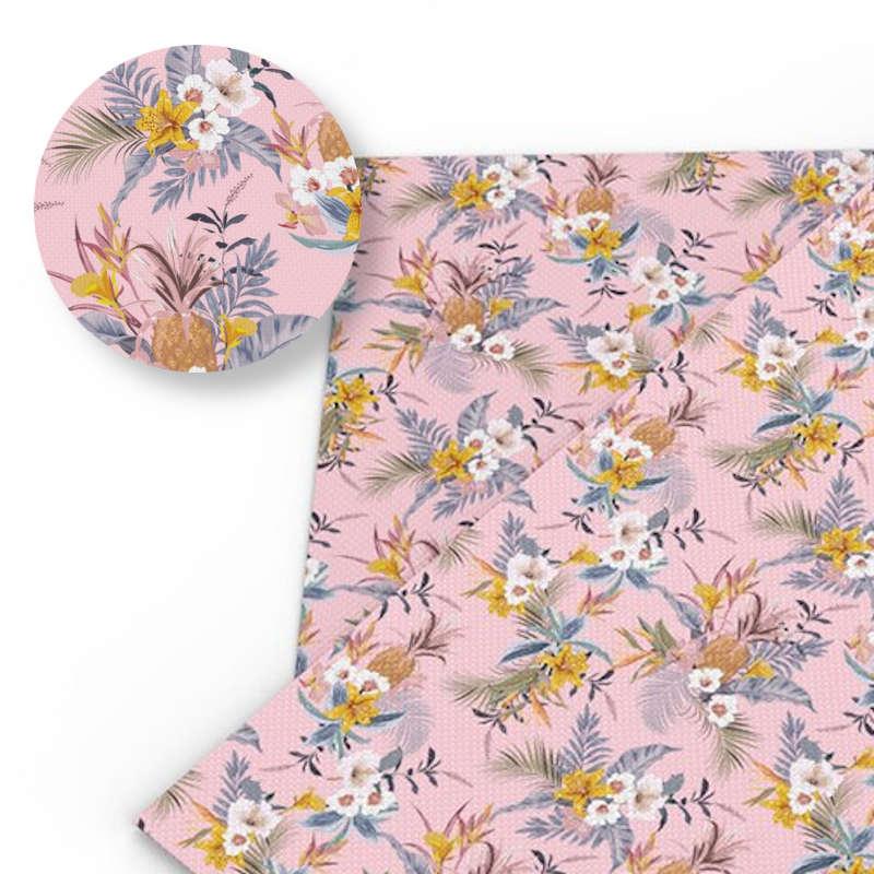 tissu motif ananas de couleur rose imprimé de bouquets de fleur