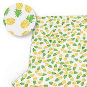 Tissu Ananas Jaune Vert Blanc