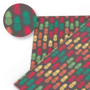 Tissu Ananas Marron Fruits Multicolores
