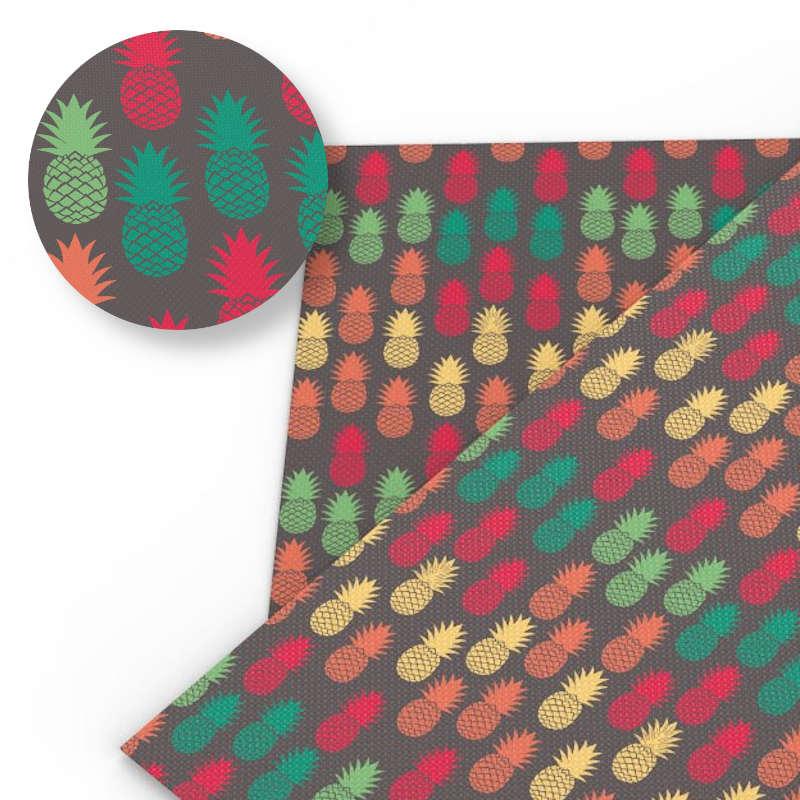 tissu motifs ananas multicoloreos juane, orange, rouge et vert