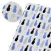 tissu ananas gris motifs fruits noir blanc et bleu