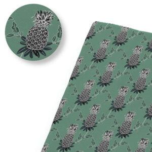 Tissu Ananas Noir et Vert