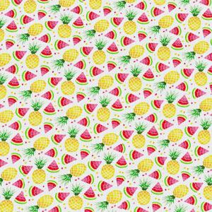Tissu Ananas Pastèques Blanc