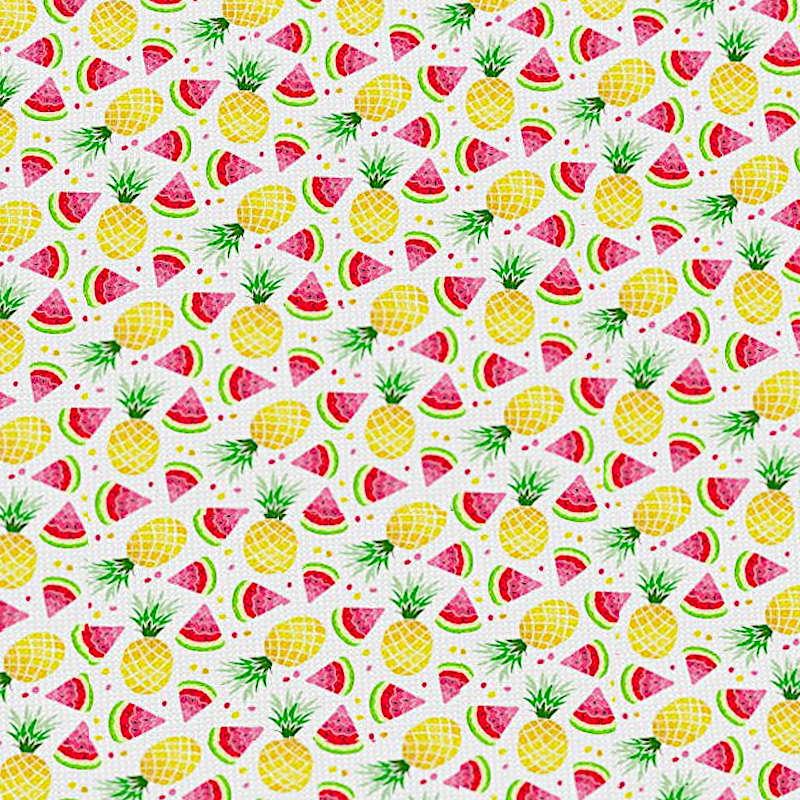 tissu motifs ananas et pastèques blanc