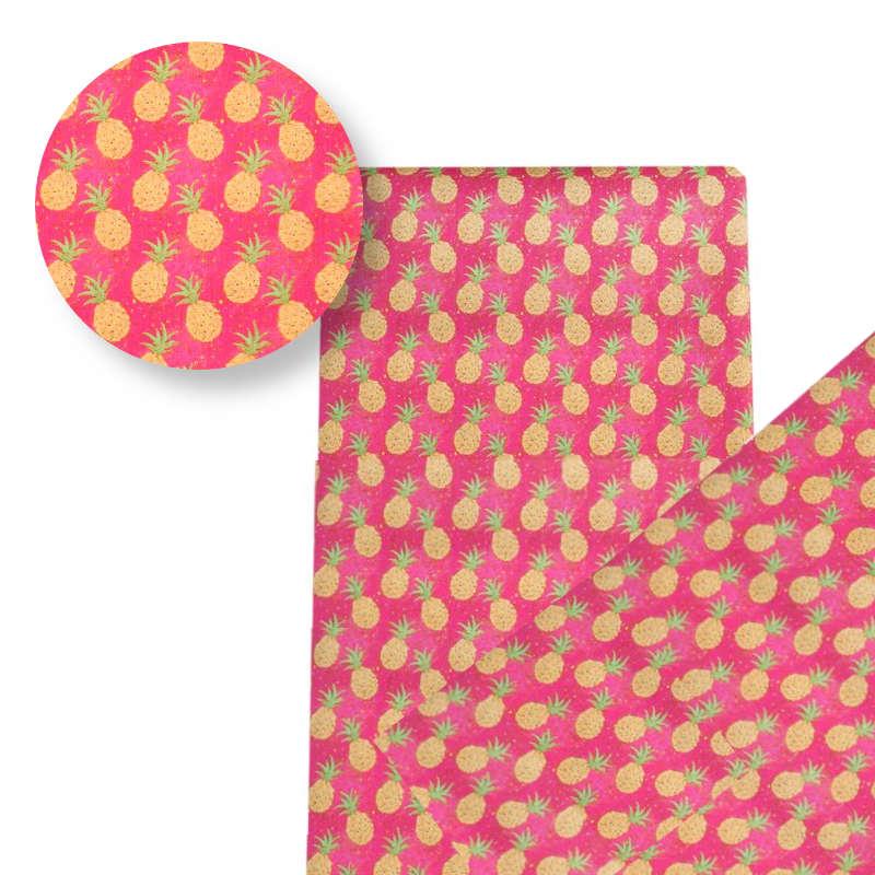 tissu motif ananas rose