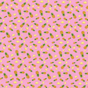 Tissu Ananas Tranche de Fruits Rose