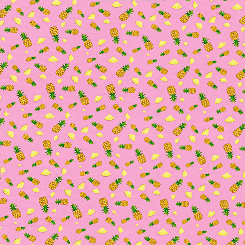 tissu motif ananas en tranche et entier rose