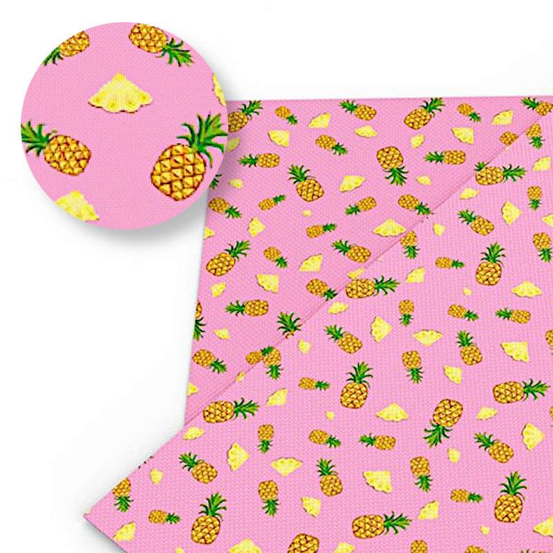 tissu motif ananas imprimé de tranche de fruit avec tissu de couleur rose