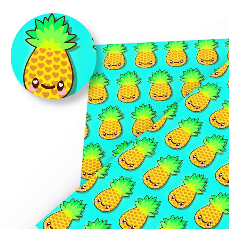 tissu ananas turquoise à coeur style kawaii