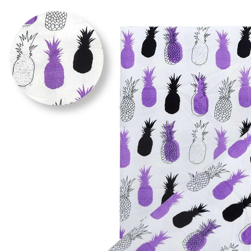tissu motifs ananas violet blanc noir