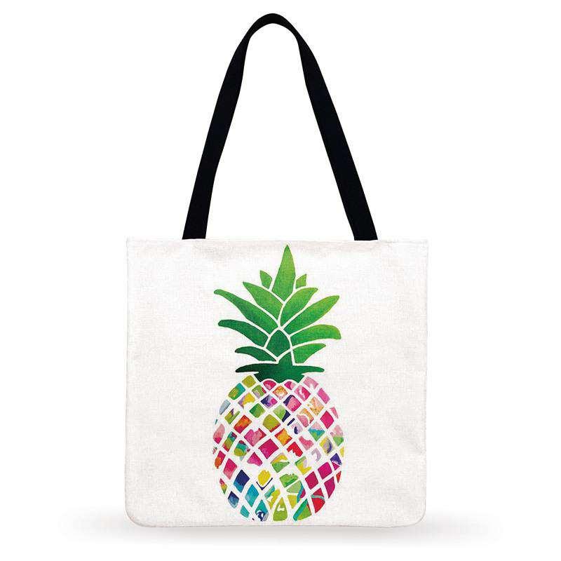 tote bag ananas en tissu de lin coloré au design presque géométrie