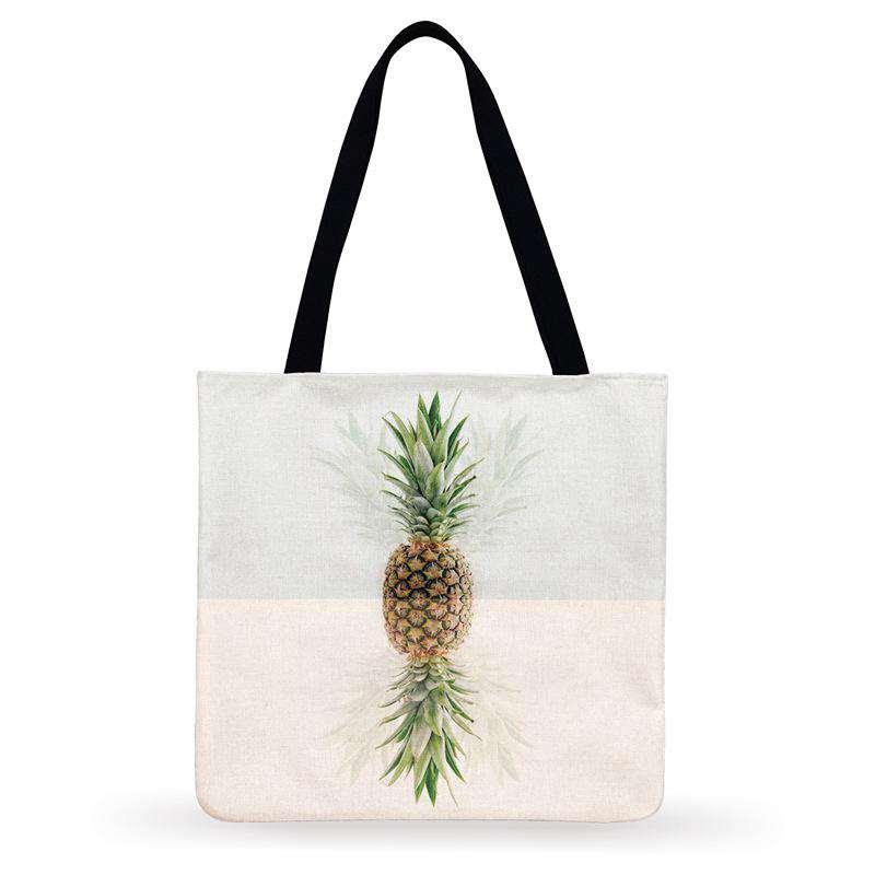 tote bag en tissu de lin imprimé de motif ananas, un à l'endroit et un à l'envers