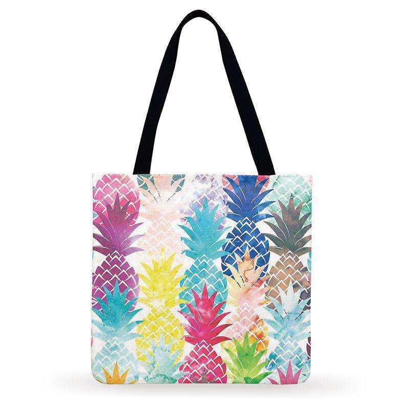 tote bag imprimés d'ananas géométriques de plusieurs couleurs