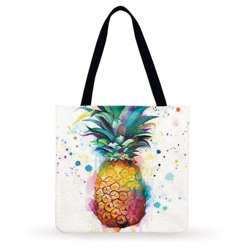 sac ananas tote bag en lin imprimé d'un ananas style peinture aquarelle