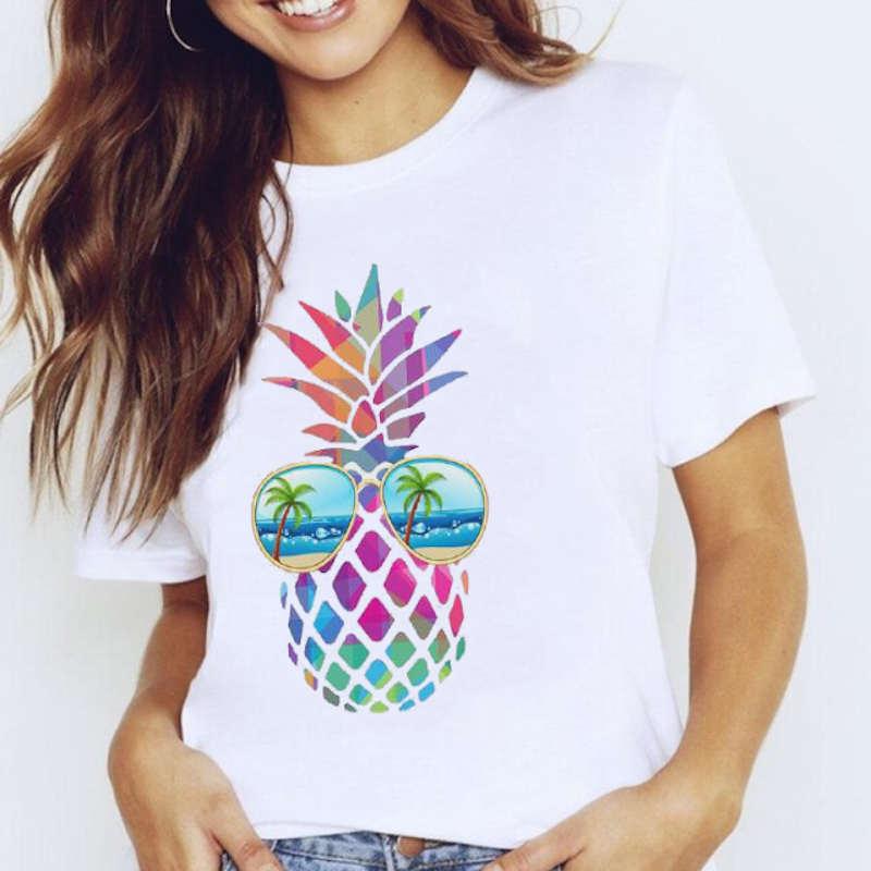 t-shirt motif ananas pour femme multicolore a lunette