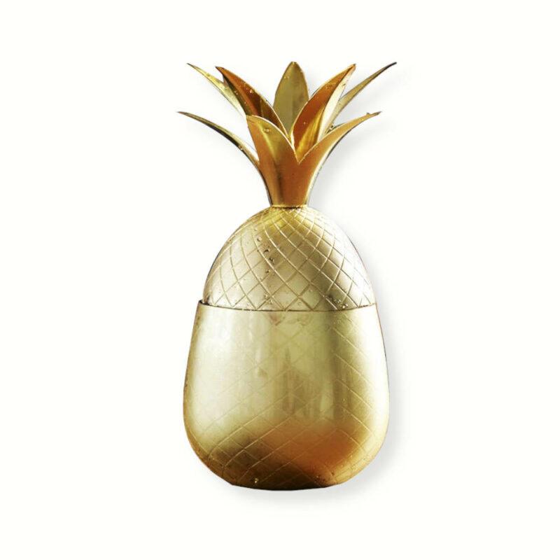 verre à cocktail ananas doré en métal inox