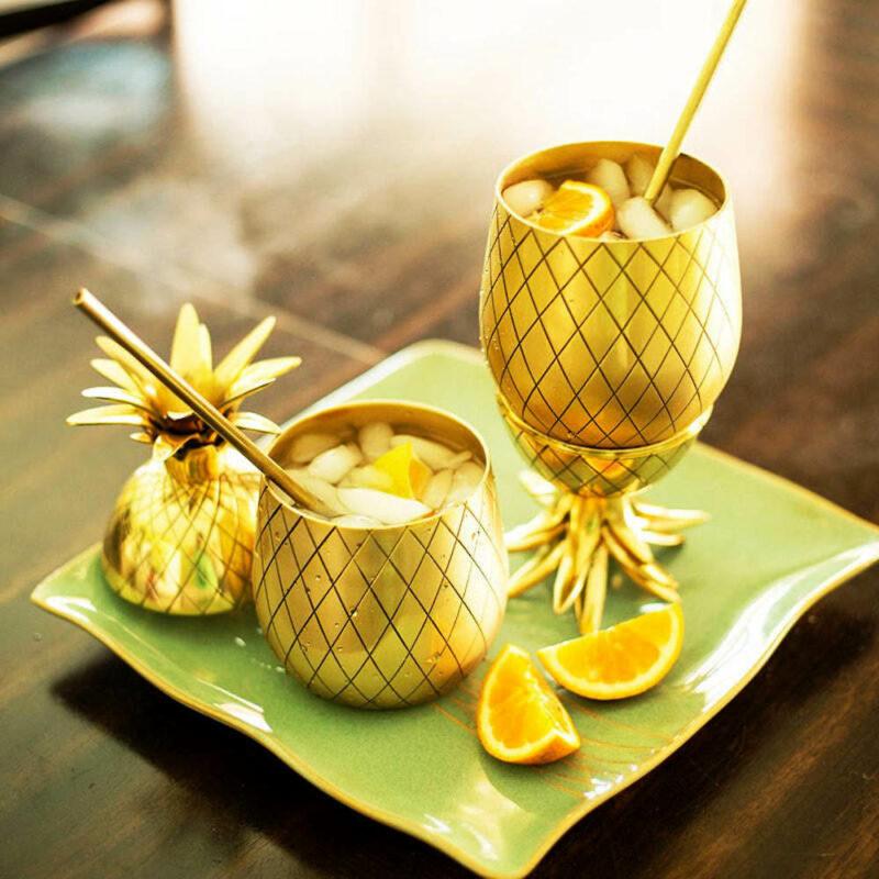verre à cocktail en forme d'ananas doré en acier inoxydable