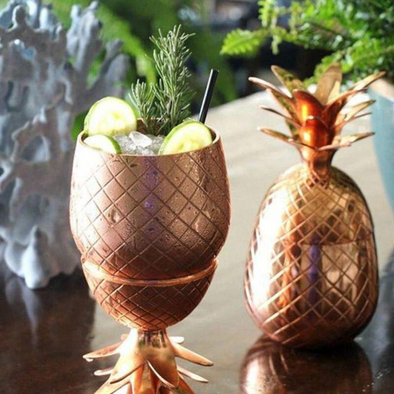 verre à cocktail en forme d'ananas cuivre en acier inoxydable